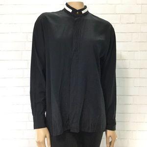 Mandarin Collar Black Button Up Blouse EUC